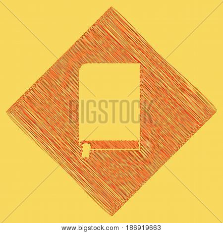 Book sign. Vector. Red scribble icon obtained as a result of subtraction rhomb and path. Royal yellow background.