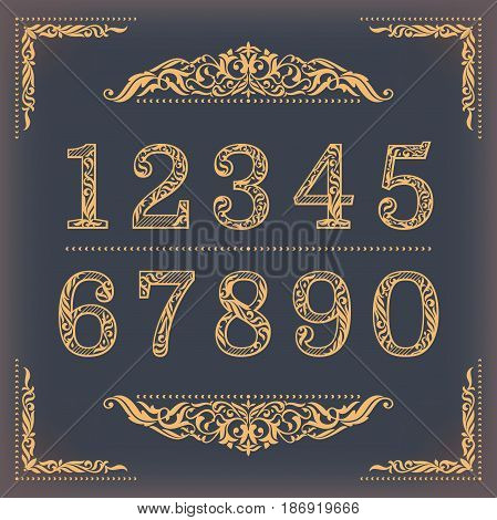 Vintage stylized numbers with floral elements. Vector illustration.