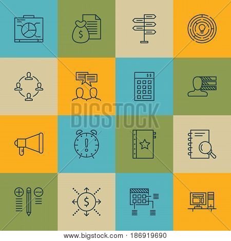 Set Of 16 Project Management Icons. Includes Money, Opportunity, Schedule And Other Symbols. Beautiful Design Elements.