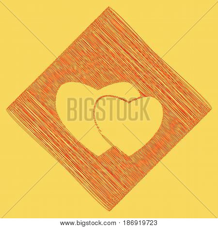 Two hearts sign. Vector. Red scribble icon obtained as a result of subtraction rhomb and path. Royal yellow background.