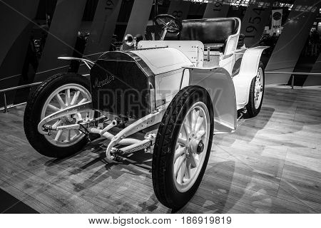 STUTTGART GERMANY - MARCH 03 2017: Retro car Mercedes Simplex 40PS 1903. Black and white. Europe's greatest classic car exhibition