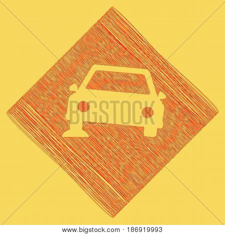 Car parking sign. Vector. Red scribble icon obtained as a result of subtraction rhomb and path. Royal yellow background.