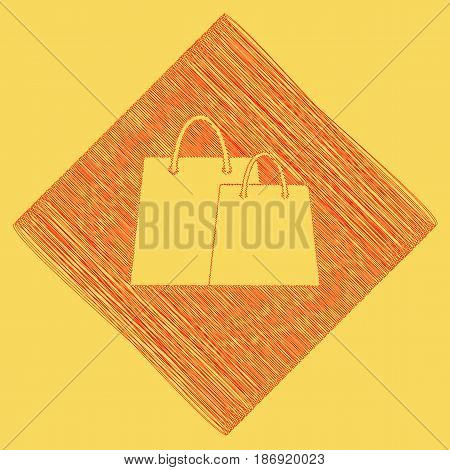 Shopping bags sign. Vector. Red scribble icon obtained as a result of subtraction rhomb and path. Royal yellow background.