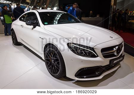 STUTTGART GERMANY - MARCH 03 2017: Compact luxury car Mercedes-AMG C63 S Coupe 2016. Europe's greatest classic car exhibition