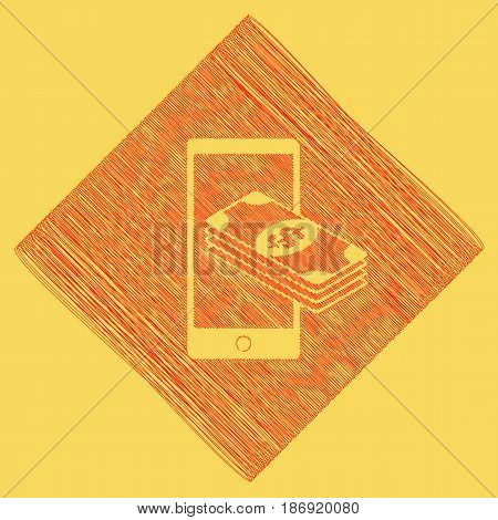 Payment, refill your mobile smart phone, . Vector. Red scribble icon obtained as a result of subtraction rhomb and path. Royal yellow background.