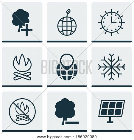 Set Of 9 Eco Icons. Includes Pin Earth, Snow, World Ecology And Other Symbols. Beautiful Design Elements.