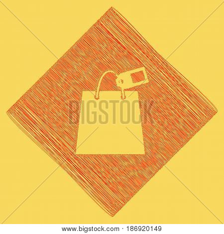 Shopping bag sign with tag. Vector. Red scribble icon obtained as a result of subtraction rhomb and path. Royal yellow background.