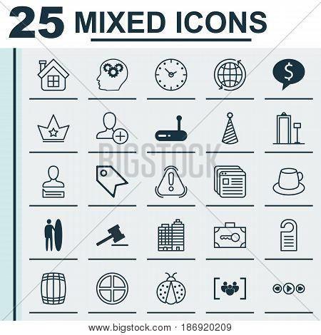 Set Of 25 Universal Editable Icons. Can Be Used For Web, Mobile And App Design. Includes Elements Such As Time, Price Stamp, Router And More.