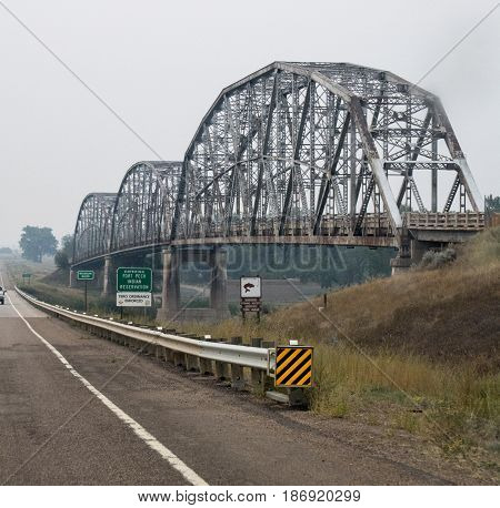An unusual truss bridge in rural Montana.