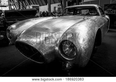 STUTTGART GERMANY - MARCH 03 2017: Restoration of the bodywork of the Maserati A6GCS race car. Black and white. Europe's greatest classic car exhibition