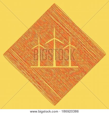 Wind turbines sign. Vector. Red scribble icon obtained as a result of subtraction rhomb and path. Royal yellow background.