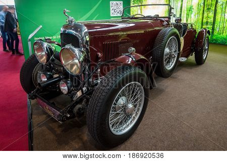 STUTTGART GERMANY - MARCH 03 2017: Retro car Lagonda 3-Litre LC Tourer 1934. Europe's greatest classic car exhibition