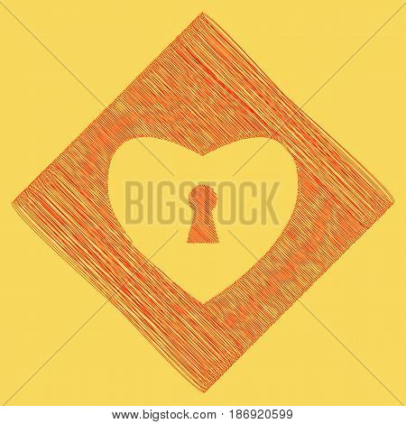 Heart with lock sign. Vector. Red scribble icon obtained as a result of subtraction rhomb and path. Royal yellow background.