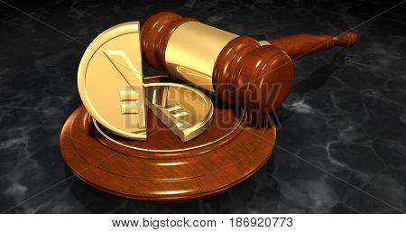 Yen Coin Split In Half Law Concept 3D Illustration