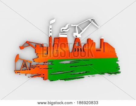 Energy and Power icons set and grunge brush stroke. Energy generation and heavy industry relative image. Flag of the Oman. 3D rendering