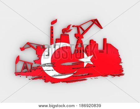 Energy and Power icons set and grunge brush stroke. Energy generation and heavy industry relative image. Flag of the Turkey. 3D rendering