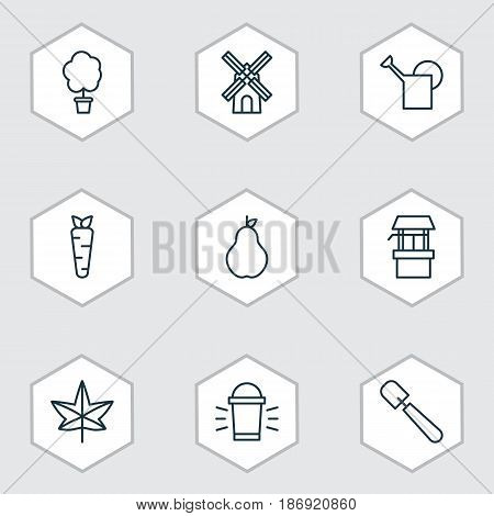 Set Of 9 Agriculture Icons. Includes Hang Lamp, Duchess, Bailer And Other Symbols. Beautiful Design Elements.