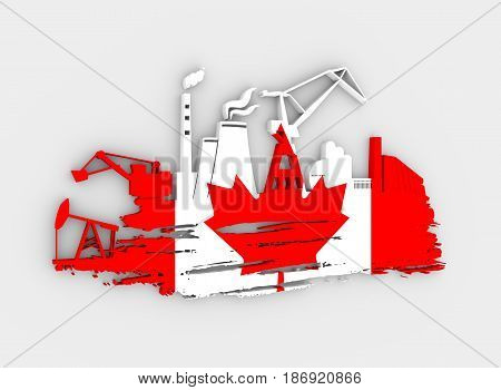 Energy and Power icons set and grunge brush stroke. Energy generation and heavy industry relative image. Flag of the Canada. 3D rendering