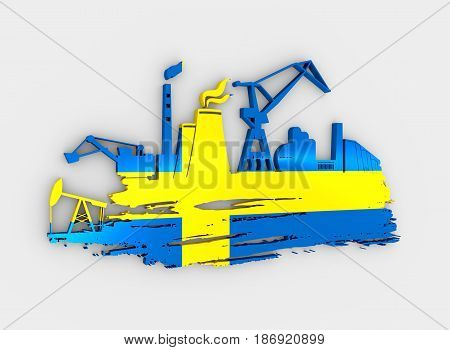 Energy and Power icons set and grunge brush stroke. Energy generation and heavy industry relative image. Flag of the Sweden. 3D rendering