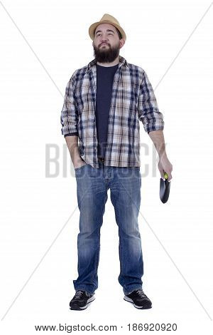Bearded man with a garden stock on a white background