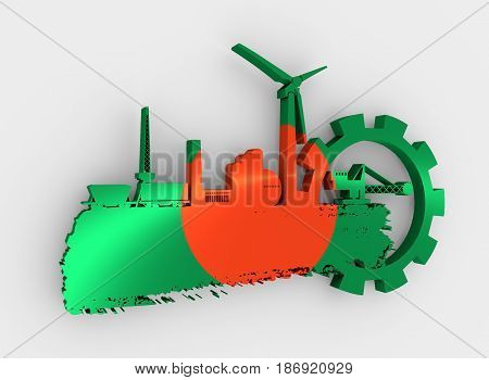 Energy and Power icons set and grunge brush stroke. Energy generation and heavy industry relative image. Flag of the Bangladesh. 3D rendering