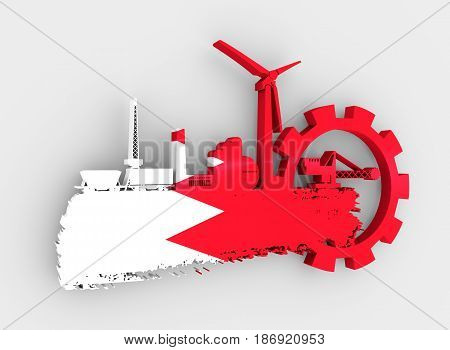 Energy and Power icons set and grunge brush stroke. Energy generation and heavy industry relative image. Flag of the Bahrain. 3D rendering