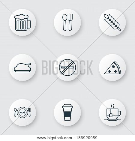Set Of 9 Meal Icons. Includes Ale, Cutlery, Pepperoni And Other Symbols. Beautiful Design Elements.