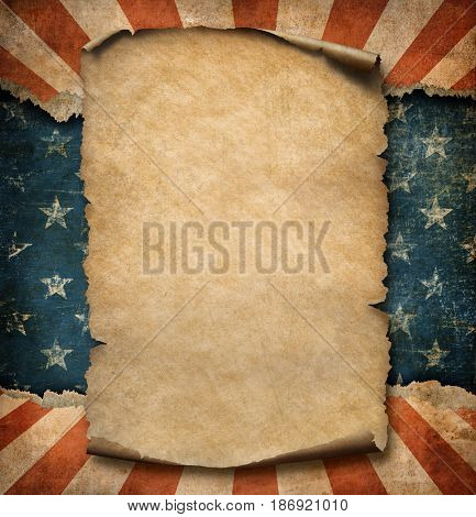 Grunge blank paper parchment or declaration over USA flag independence day template 3d illustration