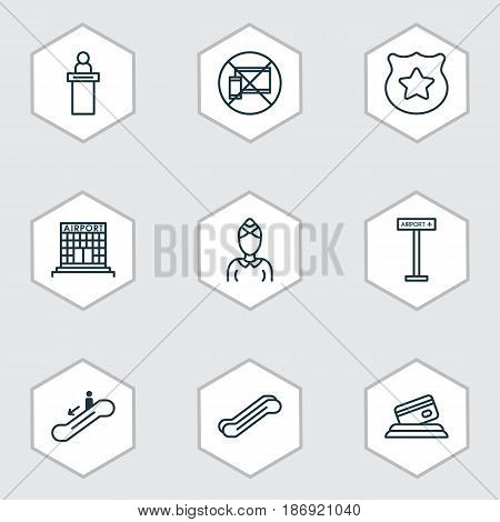 Set Of 9 Traveling Icons. Includes Airfield Manufacture, Airplane Information, Hostess And Other Symbols. Beautiful Design Elements.