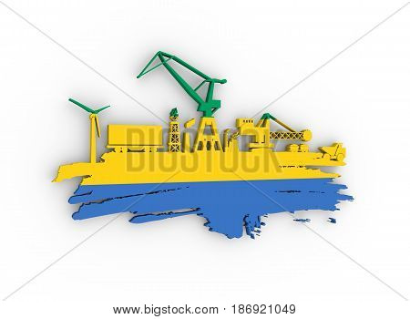 Energy and Power icons set and grunge brush stroke. Energy generation and heavy industry relative image. Flag of the Gabon. 3D rendering