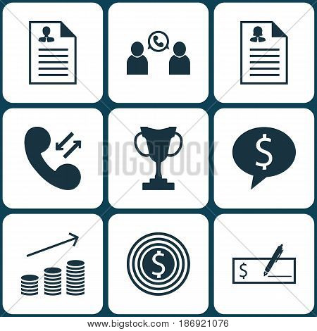 Set Of 9 Management Icons. Includes Coins Growth, Curriculum Vitae, Phone Conference And Other Symbols. Beautiful Design Elements.