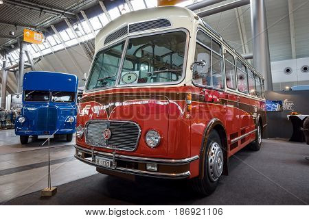 STUTTGART GERMANY - MARCH 03 2017: Bus F.B.W. (Franz Brozincevic Wetzikon) PC35-U Alpenwagen III-U 1963. Europe's greatest classic car exhibition