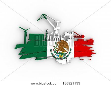Energy and Power icons set and grunge brush stroke. Energy generation and heavy industry relative image. Flag of the Mexico. 3D rendering