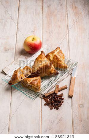 dessert stuffed with apple dried grape and cinnamon