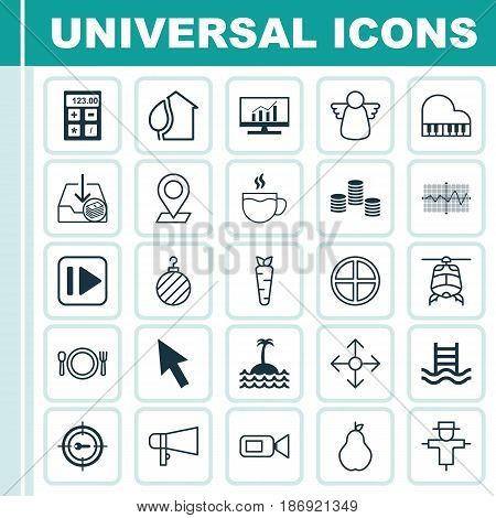 Set Of 25 Universal Editable Icons. Can Be Used For Web, Mobile And App Design. Includes Elements Such As Bugbear, Positive, Video Camcorder And More.