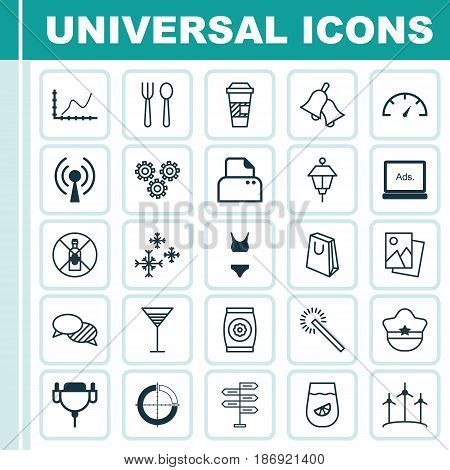 Set Of 25 Universal Editable Icons. Can Be Used For Web, Mobile And App Design. Includes Elements Such As Mechanism Parts, Lantern, Ringer And More.