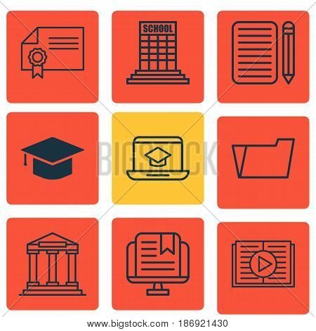 Set Of 9 School Icons. Includes Home Work, Document Case, Graduation And Other Symbols. Beautiful Design Elements.