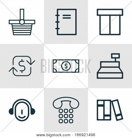 Set Of 9 Commerce Icons. Includes Buck, Spiral Notebook, Employee And Other Symbols. Beautiful Design Elements.
