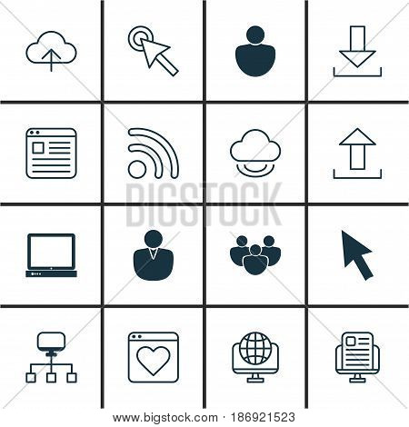 Set Of 16 Internet Icons. Includes Computer Network, Human, Wifi And Other Symbols. Beautiful Design Elements.