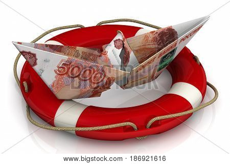 Saving the Russian economy. Torn paper boat made from an Russian banknote (ruble) in the lifebuoy on a white surface. Isolated. 3D Illustration