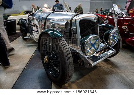 STUTTGART GERMANY - MARCH 03 2017: Midsize sports saloon Riley 12/4 Special 1934. Europe's greatest classic car exhibition