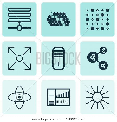 Set Of 9 Machine Learning Icons. Includes Hive Pattern, Algorithm Illustration, Controlling Board And Other Symbols. Beautiful Design Elements.