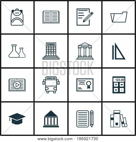 Set Of 16 Education Icons. Includes Taped Book, Library, College And Other Symbols. Beautiful Design Elements.