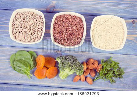 Vintage Photo, Ingredients Containing Calcium And Dietary Fiber, Concept Ofhealthy Nutrition