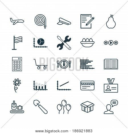 Set Of 25 Universal Editable Icons. Can Be Used For Web, Mobile And App Design. Includes Elements Such As Open Cardboard, Opened Book, Briefcase Scanner And More.
