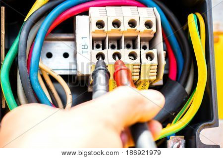 electrician,close up hand of electrician during work
