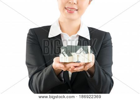 Asian Woman Agent Showing New House In Closer.