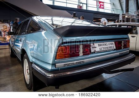 STUTTGART GERMANY - MARCH 03 2017: Executive car Rover SD1 3500 V8 Vitesse 1985. Rear view. Europe's greatest classic car exhibition
