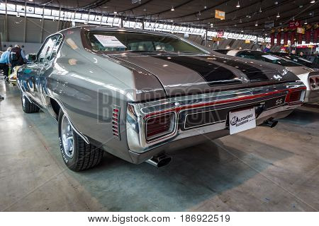 STUTTGART GERMANY - MARCH 03 2017: Mid-size car Chevrolet Chevelle SS 1970. Rear view. Europe's greatest classic car exhibition