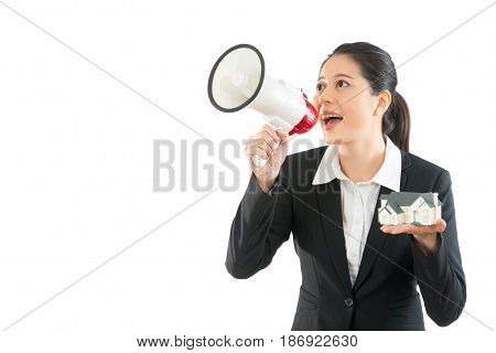 Employee Using Megaphone Publicize News